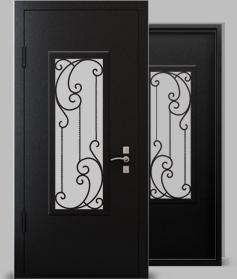 Входная металлическая дверь серии А2 со стеклопакетом и кованой решеткой