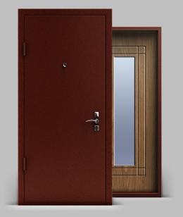 Входная металлическая двери серии А1 металл/МДФ с зеркалом Эконом