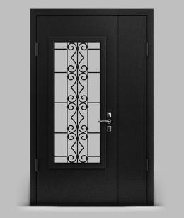 Двустворчатая входная металлическая дверь серии А2 металл/металл с решеткой