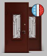 Входная металлическая дверь серии «Термо» А2  с трехкамерным стеклопакетом и решеткой