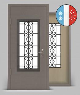 Входная металлическая дверь серии «Арктика Light» А1 МДФ со стеклопакетом и кованой решеткой